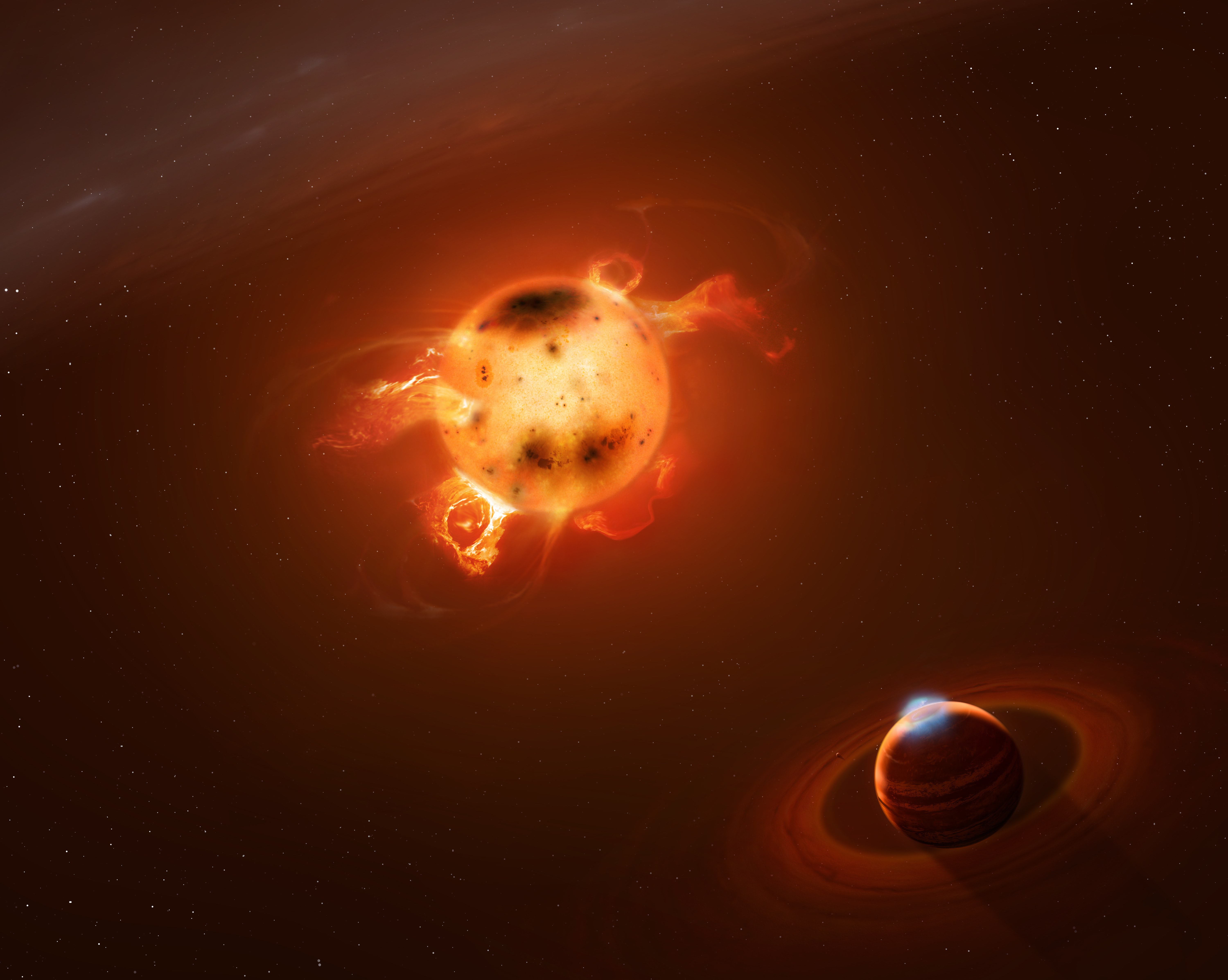 Artist view of the giant planet orbiting the infant sun V830 Tau (credit Mark A. Garlick / markgarlick.com)
